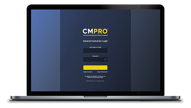 CMPRO™ Construction Management Software Simplified™ general contractor login screen on laptop