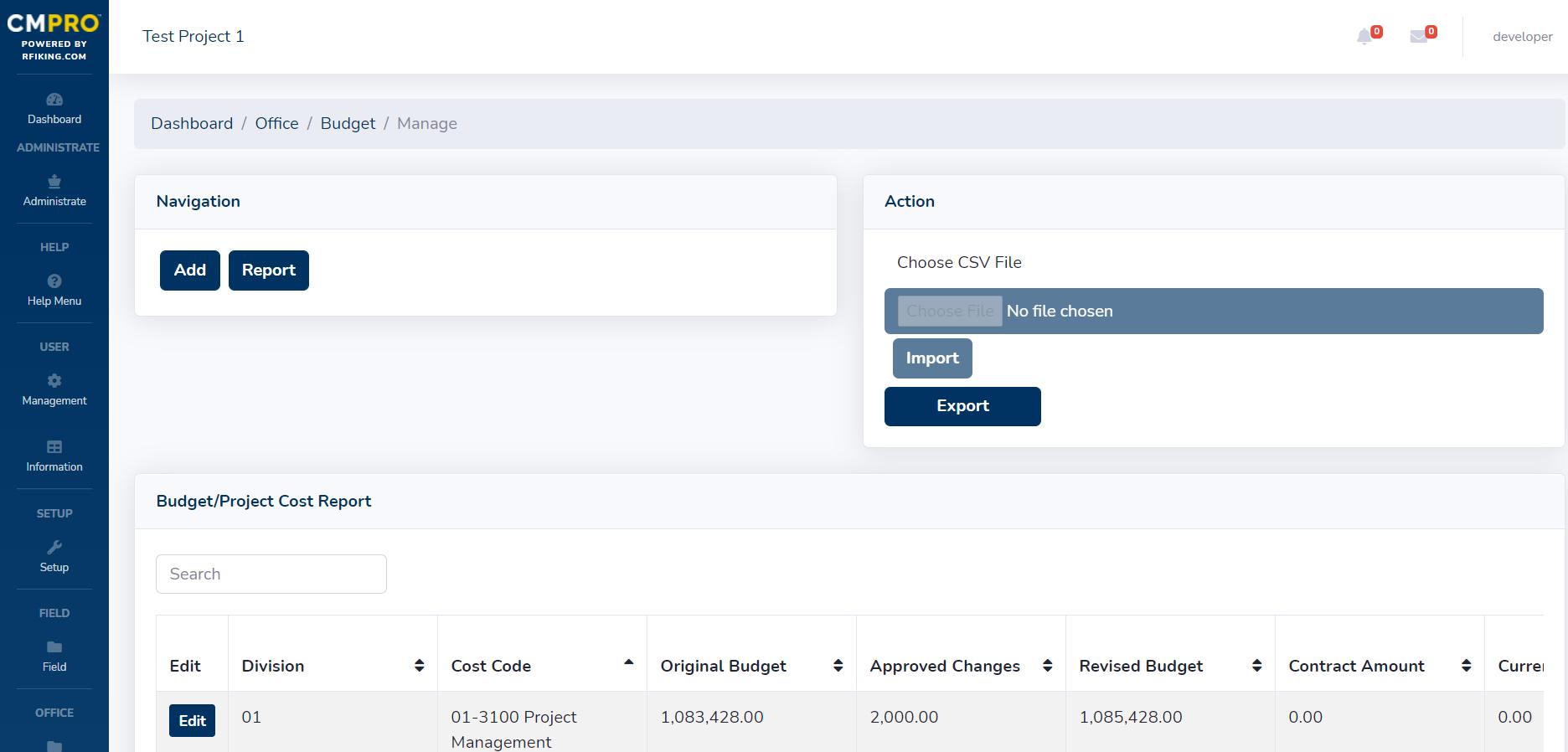 CMPRO construction management software general contractor office budget feature