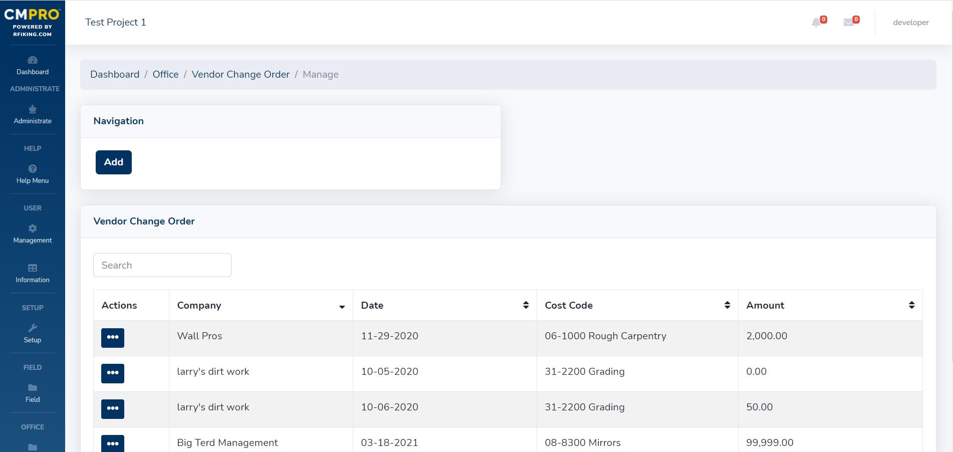 CMPRO construction management software general contractor office vendor change orders feature