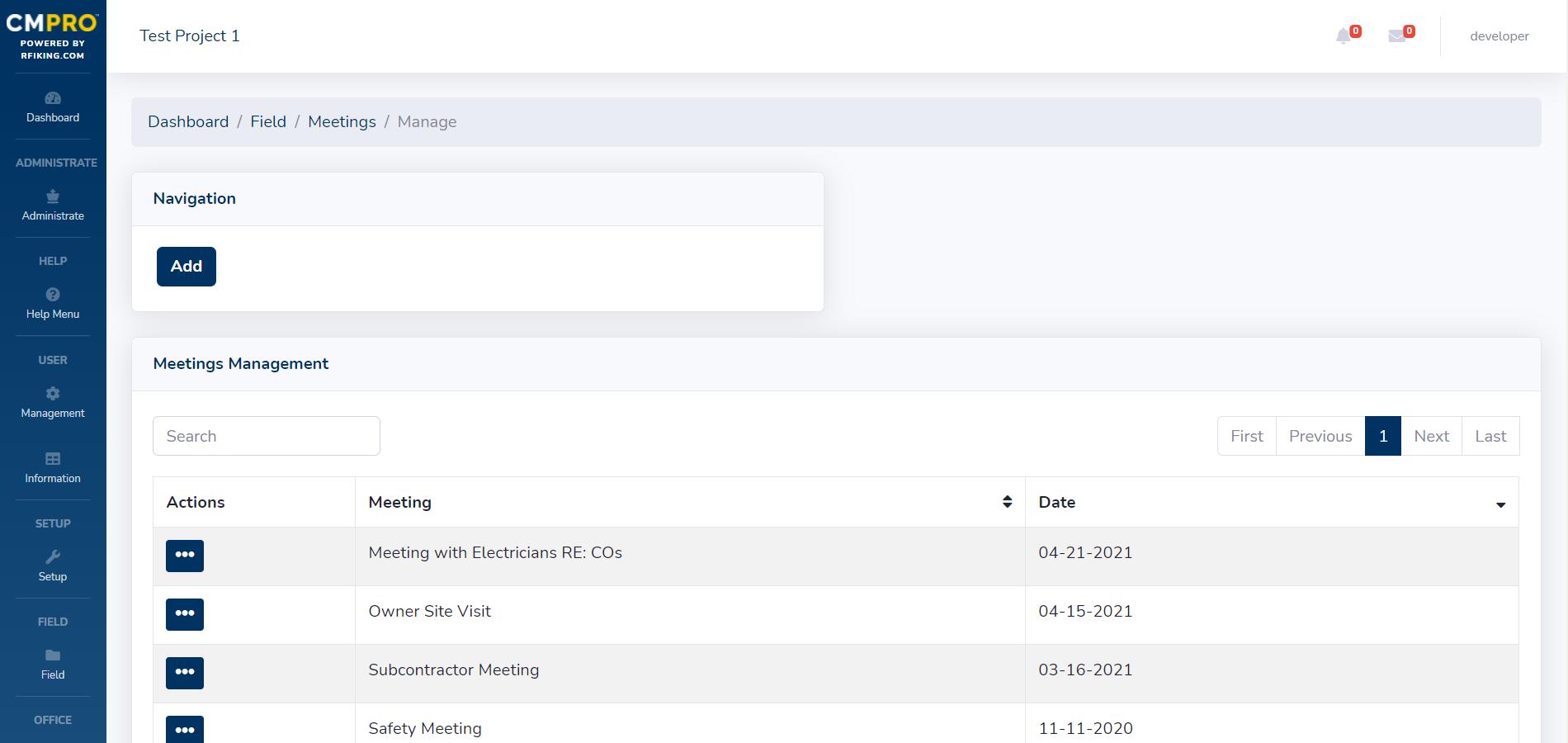 CMPRO General Contractor Meetings Management Dashboard